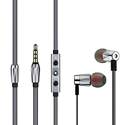 GGMMalauda Noise Isolating Deep Bass Premium In-Ear one button Full Aluminum Housing Headphones with Microphone; Flat tangle free cable; Compatible with Apple iPhone iPad iPod and more;Gaming or Music Use Headset(Orange/Grey)