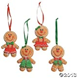 "Dozen (12) Adorable Big Head GINGERBREAD Man/Boy/Girl Cookie CHRISTMAS Tree ORNAMENTS/GLITTERY Resin 3.5"" Decorations/HOLIDAY DECOR/CANDY/Sweets"