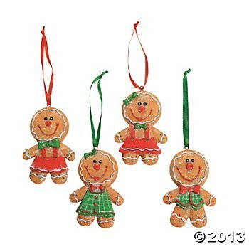 Set of 4 ADORABLE Big Head GINGERBREAD Man/Boy/Girl Cookie CHRISTMAS Tree ORNAMENTS/GLITTERY Resin 3.5