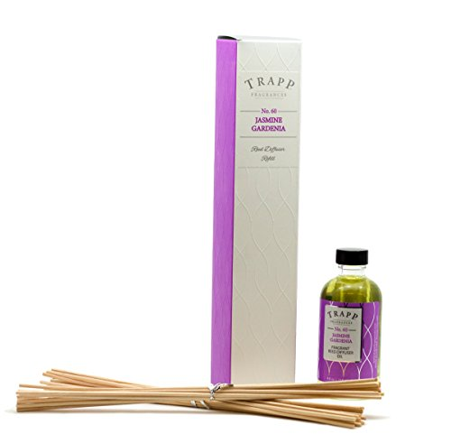 Trapp Candles Reed Diffuser Refill Kit, No. 60 Jasmine Gardenia 4-Ounce - Fragrance Diffuser Kit