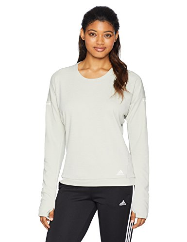adidas Women's Running Supernova Run Sweatshirt, Ash Silver/Heather, Small