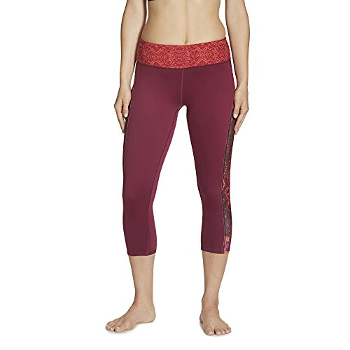 Gaiam Women's Luxe Yoga Capri Print, Bright Wine Patchwork, X-Large