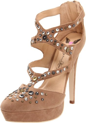 Penny Loves Kenny Ankle Strap Heels (Penny Loves Kenny Women's Journey Pump,Biege,7 M US)