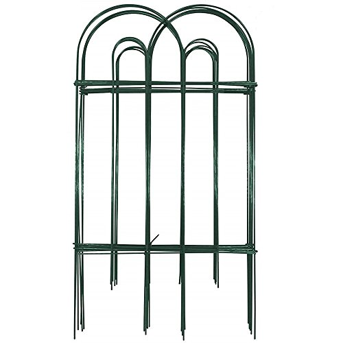 Amagabeli Decorative Garden Fence 32 in x 20 ft Rustproof Green Iron Landscape Wire Folding Fencing Ornamental Panel Border Edge Section Edging Patio Fences Flower Bed Animal Barrier for Dog Outdoor