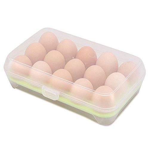 KINDOYO Caja hermética para huevos Refrigerador Contenedor de huevos Contenedor de plástico de una sola capa