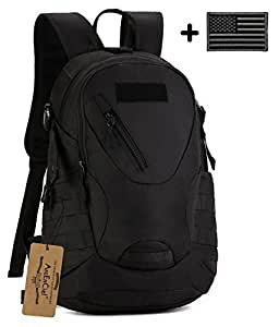 ArcEnCiel 20L Men Tactical Bags Men Travel Bags Ultralight Hunting Range Soldier Ultimate Stealth Heavy Duty Carrier Backpack Water-Resistant with Patch (Black)