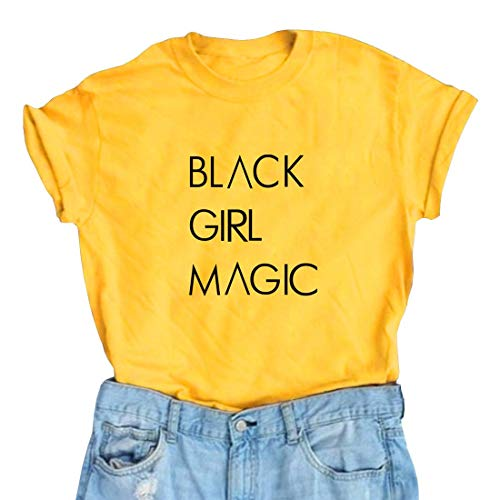 Women Magic - Black Girl Magic Women's Cute Graphic T Shirts Funny Tops Short Sleeve Tees Crewneck T-Shirt (Large, Yellow)