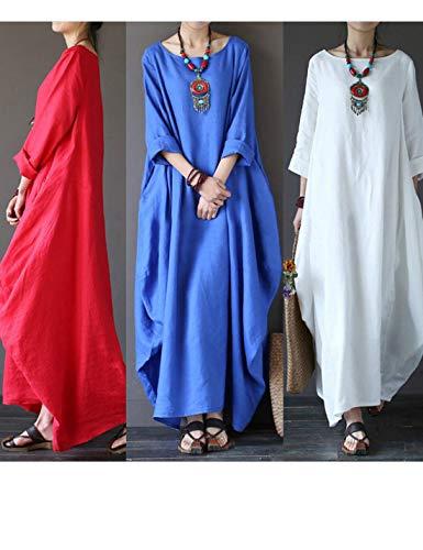 Vestidos Loose Ropa Plus De Retro Las Maxi Size Azul Algodón Dress Mujeres Naliha Holgada HEwZUqHC