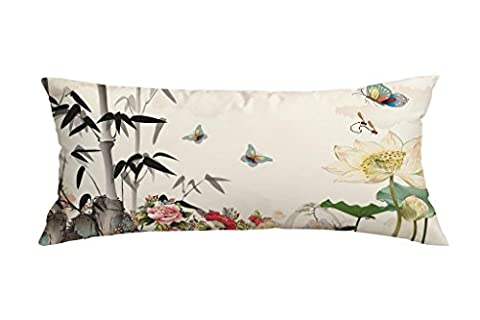 Watercolors Butterfly and Flower Pillow Case Cushion Cover Decorative Customized Polyester Throw Pillow Case Cushion Cover 16 x 40 (Bench Cushion Indoor 40 Inch)