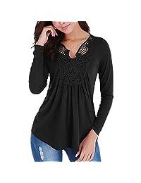 FarJing Women T-Shirt Fashion Casual Mesh Stitching PrintingT-Shirt Tops Blouse