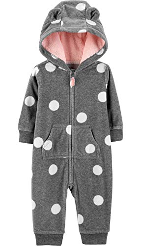 Carter's Baby Girls' 1 Piece Hooded Footies and Rompers (Polka Dot/Fleece, 9 Months) (Hooded Baby Jumper)