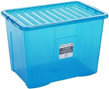 80 litros TINT azul caja de almacenamiento y tapa: Amazon.es: Bricolaje y herramientas