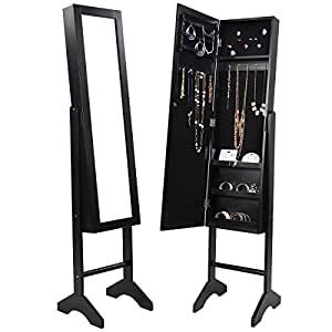 Amazon Com Black Mirrored Jewelry Cabinet Armoire Mirror