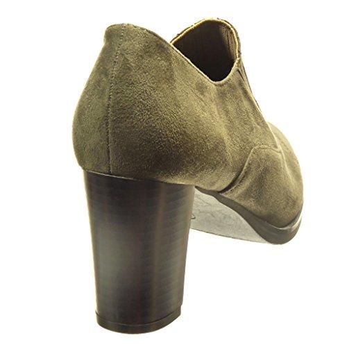 Angkorly - Scarpe da Moda Stivaletti - Scarponcini low boots slip-on donna lines Tacco a blocco tacco alto 7.5 CM - Verde