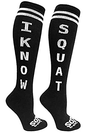 The Sox Box I Know Squat Knee High Socks! (Black)