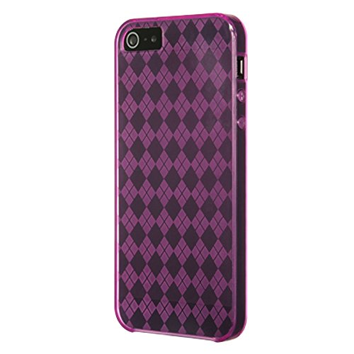 Hot Pink Checker - Dream Wireless Crystal Skin Case for iPhone 5/5S - Retail Packaging - Hot Pink Checker