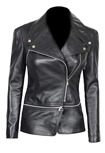 Moto Jacket Women - Asymmetrical Genuine Black Lambskin Leather Jacket Women | Alabama L