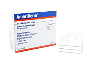 Ameriderm 20002 Sterile Bordered Gauze, Each Box Has 25 Dressings, White, 4 Inch x 4 Inch, (Pack of 2)