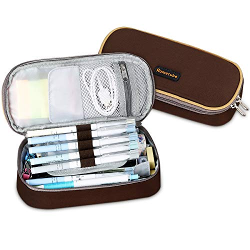 Pencil Case, Homecube Big Capacity Pen Bag Makeup Pouch Durable Students Stationery with Double Zipper, - Zipper Coffee