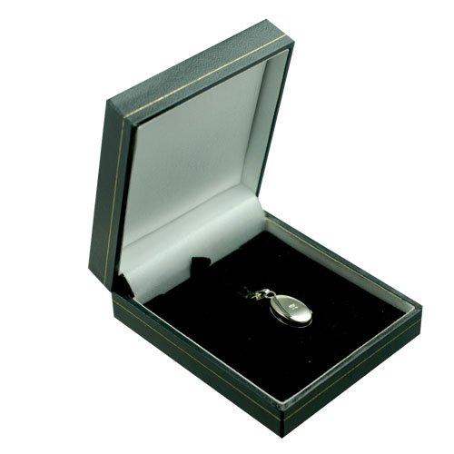 Médaillon à loquet ovale simple de 18x11mm en or blanc 375/1000