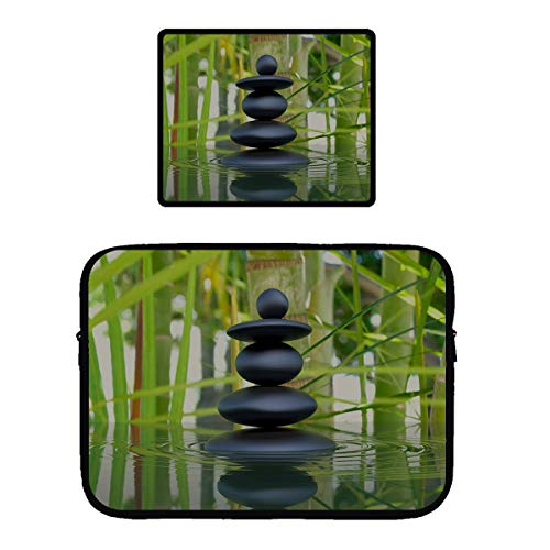 Zipper Sleeve Case for 115 inch MacBook Air Pro Anti-Scratch Microfiber Laptop Bag Dual Pocket with Locking Edge Mouse Pad Spa Decoration Asian Zen Garden Stone Bamboo Zen