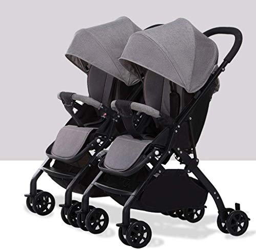 TZZ Double Stroller Lightweight One-Hand Compact Tandem Seats with 5-Point Safety System Pushchair for Newborn and Toddler (Color : Gray)
