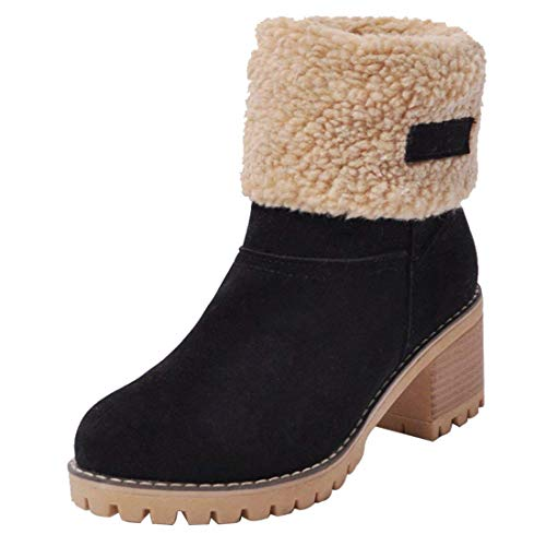 Inornever Women's Winter Short Boots Round Toe Suede Chunky Low Heel Faux Fur Warm Ankle Snow Booties Black 10.5 B (M) US