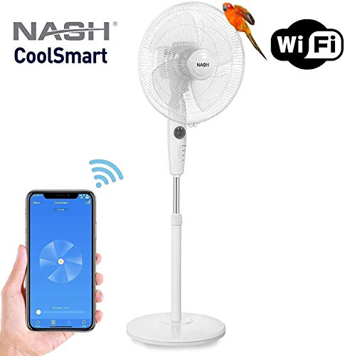 NASH Smart WiFi Oscillating Pedestal Stand Fan 16-Inch, Works with Alexa Google Home Voice Control, APP, Oscillation, Automation, PF-1 CoolSmart.