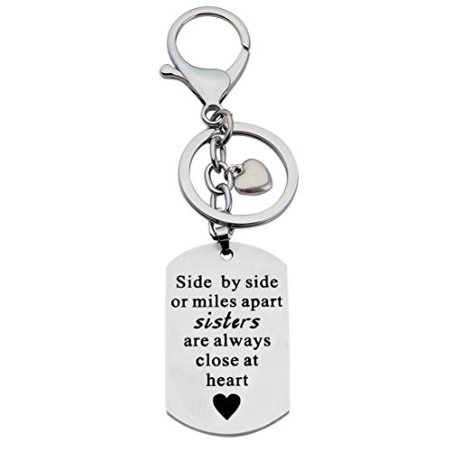 KUIYAI Side by Side or Miles Apart Keychain with Heart Charm for Friends (Sisters Keychain)