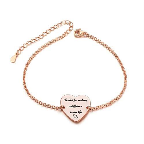 Appreciation necklace for Appreciation jewelry for Appreciation keychain Mentor gift for Mentor keychain for Mentor bracelet for Coworker keychain for Coworker gifts (Ⅲ Rose Gold Bracelet) -