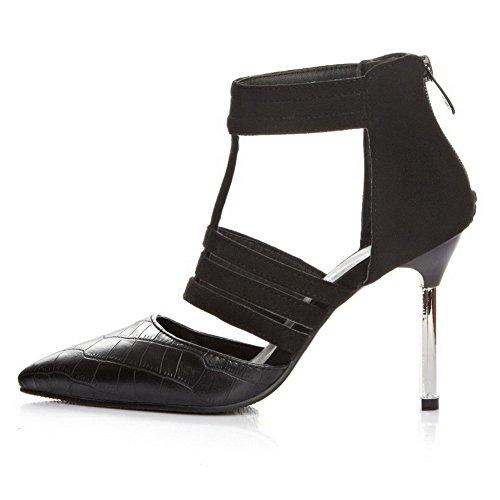Black Zipper Leather Salon Closed Toe Agoolar Women Colori assortiti Stiletto Pointed zqWxgC