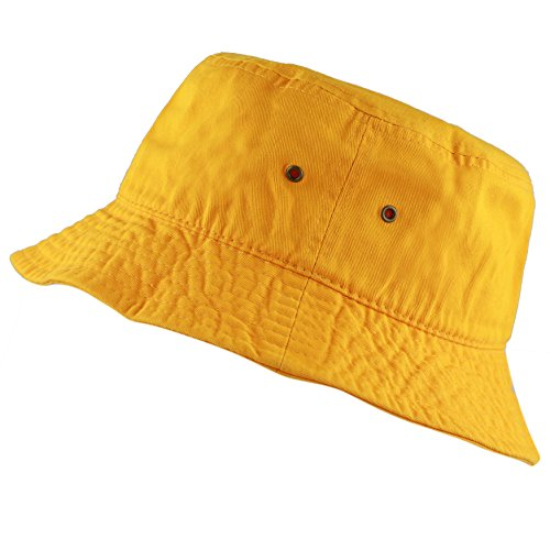The Hat Depot 300N Unisex 100% Cotton Packable Summer Travel Bucket Hat (L/XL, Gold) -