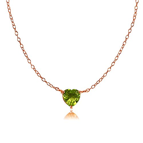 Rose Gold Flashed Sterling Silver Small Dainty Peridot Heart Choker Necklace