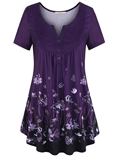 - Bebonnie Women's Vintage Short Sleeve V Neck Pleated Tunic Shirt Multicolor Violet L