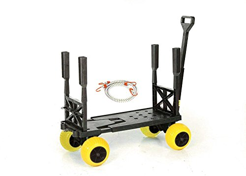 Mighty Max Plus One Beach Fishing Cart Wagon with 4 All Terrain Rolling (Wheeleez Beach Cart)