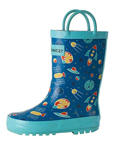 OAKI Kids Rubber Rain Boots Easy-On Handles, Outer Space, 8T US Toddler (Childrens Boot Rain)