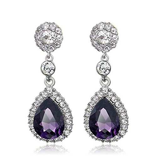 (Gorgeous Austrian Cut Crystal Rhinestone Pierced Wedding Bridal Teardrop Drop Dangle Earrings (silver-purple))