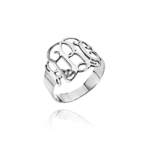 Ouslier 925 Sterling Silver Personalized Monogram Ring Custom Made with 3 Initials (Silver) ()