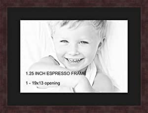 Art to Frames Double-Multimat-730-89/89-FRBW26061 Collage Frame Photo Mat Double Mat with 1 - 13x19 Openings and Espresso frame
