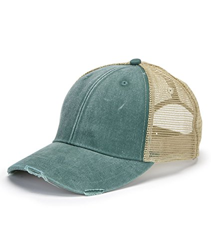 Adams 6-Panel Pigment-Dyed Distressed Trucker Cap OS Forest/Tan 6 Panel Twill Trucker Cap
