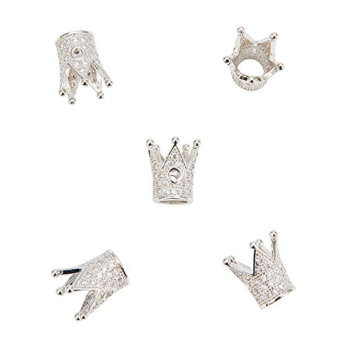 NBEADS 5 Pcs Cubic Zirconia Crown Beads, Platinum Color Brass Micro Pave Crown Spacer Beads Bracelet Connector Charm Beads for DIY Jewelry Making, Lead Free & Cadmium Free & Nickel Free