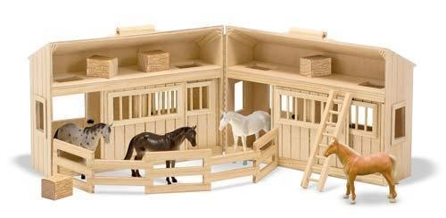 Doug Pasture Pals - Melissa & Doug Fold and Go Mini Stable with 12 Horse Pasture Pals Bundle