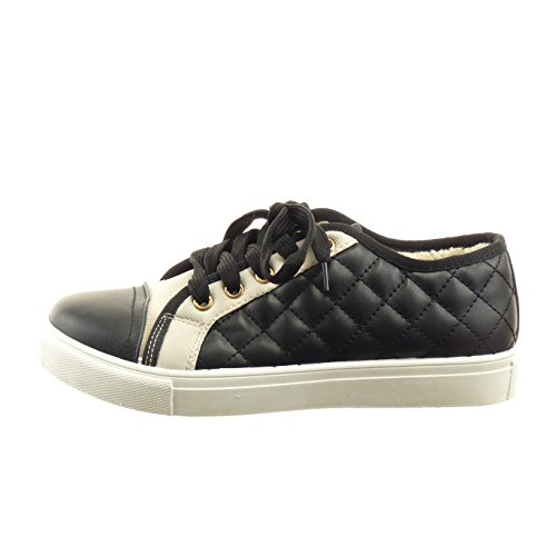 Sopily - Chaussure Mode Baskets bi-matière Cheville femmes matelassé Talon bloc 2.5 CM - Noir