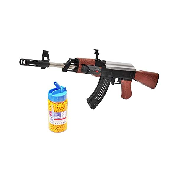 IndusBay® AK 47 BB Toy Gun for Boys , 23 Inches Long Army Style AK-47 with Laser Light & Bottle Pack of Plastic Bullets , Shooting Game for Kids