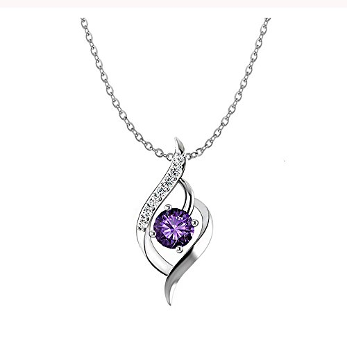 Women Jewelry Sterling Silver CZ Pendant Heart Necklace Charms Fashion Jewelry Women Necklace Amethyst Pendant Necklace,It's The Best Gift To Send Your Friends On Valentine's Day And other holidays