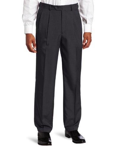 Big And Tall Pleated Pants (Savane Men's Big-Tall Select Edition Microfiber Pleated Dress Pant, Dark Navy, 46x30)