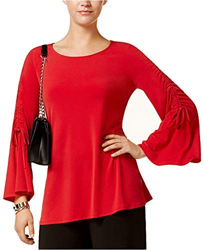 Alfani Womens Wear to Work Ruched Pullover Top Red L from Alfani