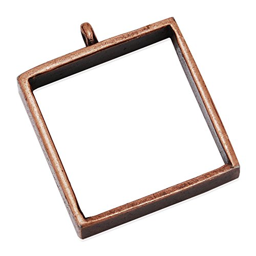 (10pcs 25*25mm Square Open Back Bezel Pendant, Open Back for Resin, Polymer, Etc. Open Back Frame with 1 Loop (Antique Copper))