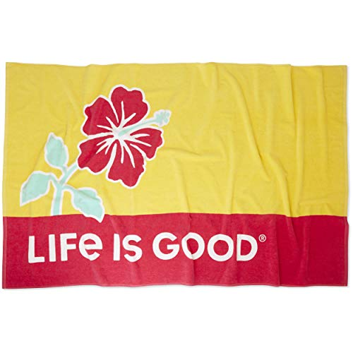 Life is Good Beach Towel Hibiscus Sun, Happy Yellow, One Size