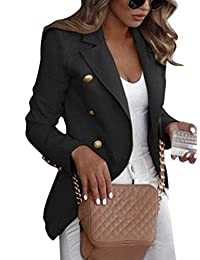 Romose Women Business Blazer Solid Color Long Sleeve Jacket Slim Fit Lapel Office Short Military Coat with Buttons Suits